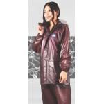PVC Plastik - Anzug Regenanzug Damen modern 2-teilig Klettkragen braun transparent