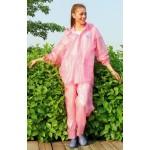 PVC Plastik - Anzug Regenanzug Damen modern 2-teilig Klettkragen pink rosa gepunktet C888P