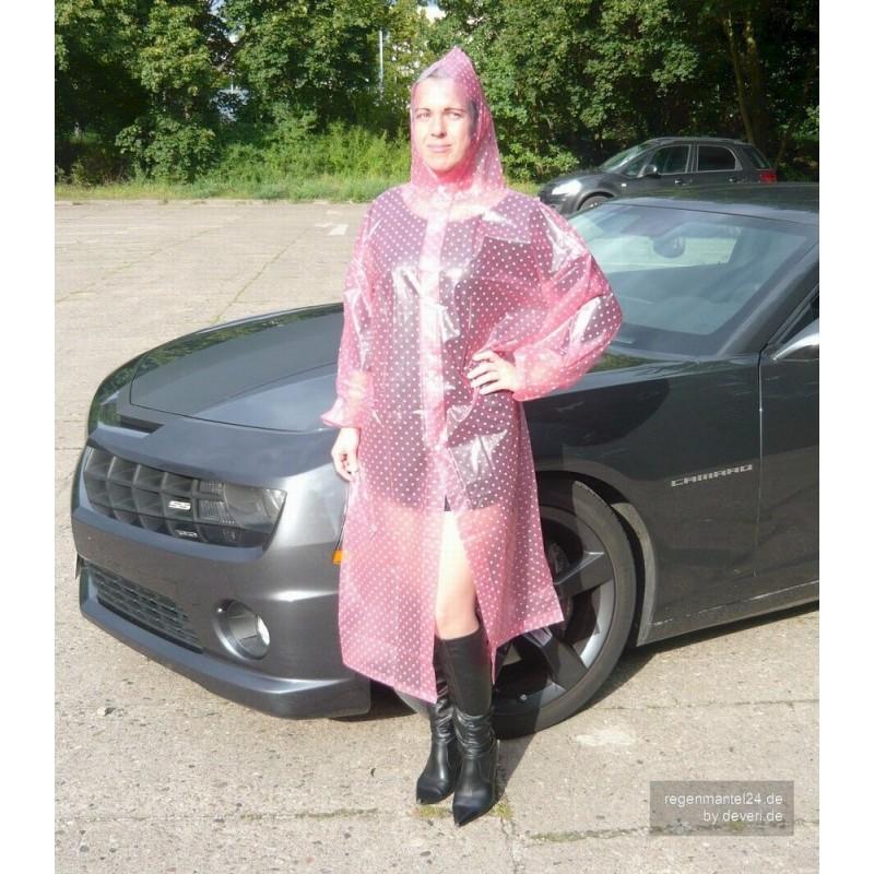 plastik mantel regenmantel damen dd006 pink gepunktet. Black Bedroom Furniture Sets. Home Design Ideas