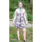 Plastik - Mantel Regenjacke Fashion Type M Reißverschluss glasklar transparent Rand: schwarz