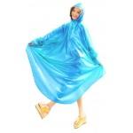 Plastik - Schlupf-Regenmantel Cape-Mantel MJ-001 Blau transparent