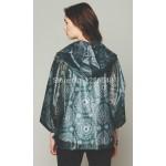 Plastik - Jacke Regenjacke junge Damen modern dunkelgrün gemustert WYQ-R009
