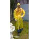 PVC Plastik Mantel Regenmantel Folienmantel Damen Retro Gelb JD LAGERWARE