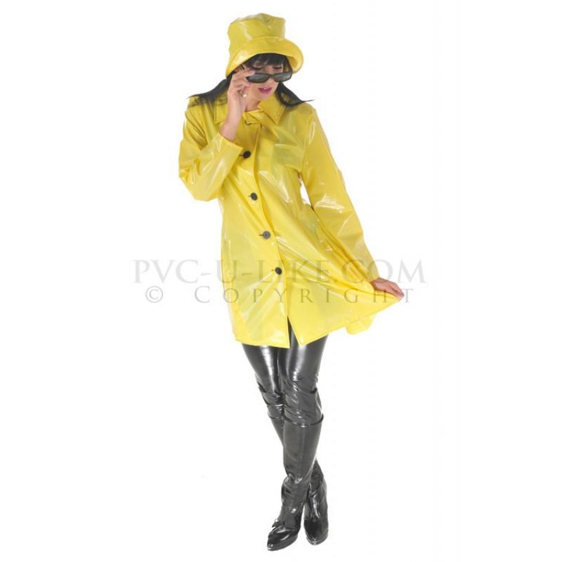 PUL PVC Mantel Regenmantel 60er Style RA28 LADIES SIXTIES
